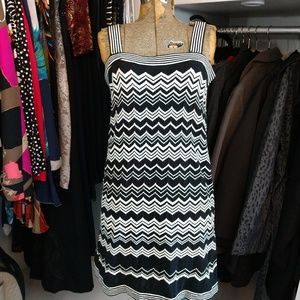 Black and White Striped Chevron Print Dress